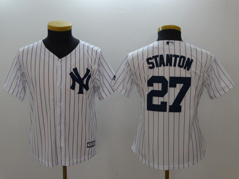 Youth New York Yankees 27 Stanton White stripes MLB Jerseys