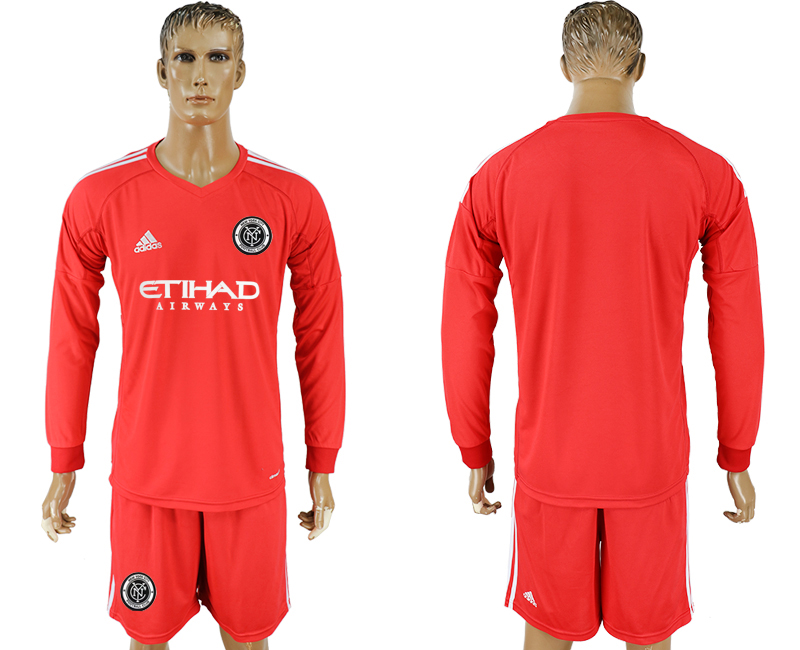 2018-2019 Club Men New York City red goalkeeper long sleeve soccer jersey