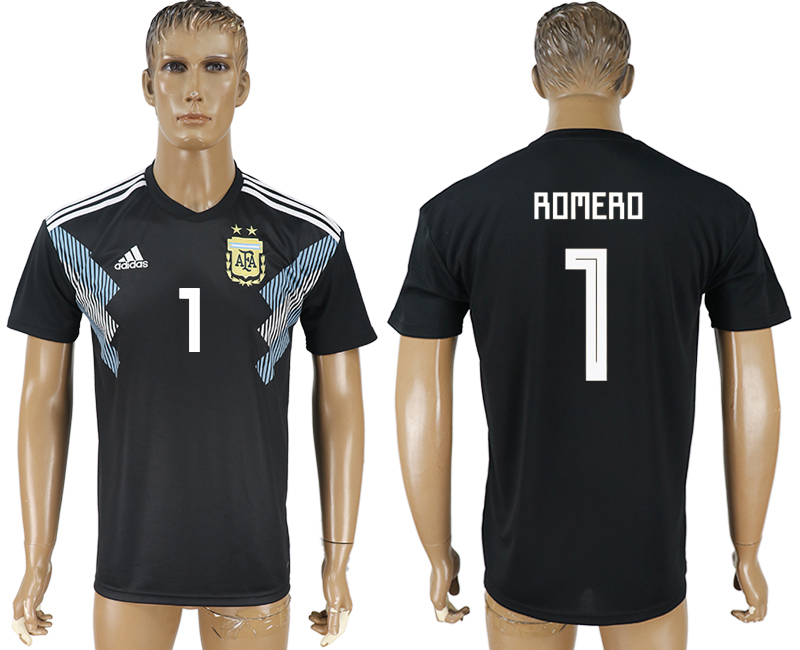 Men 2018 World Cup Argentina away aaa version 1 black soccer jersey