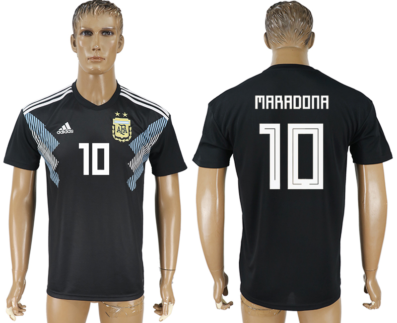 Men 2018 World Cup Argentina away aaa version 10 black soccer jersey