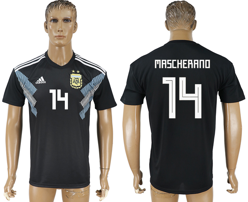 Men 2018 World Cup Argentina away aaa version 14 black soccer jersey