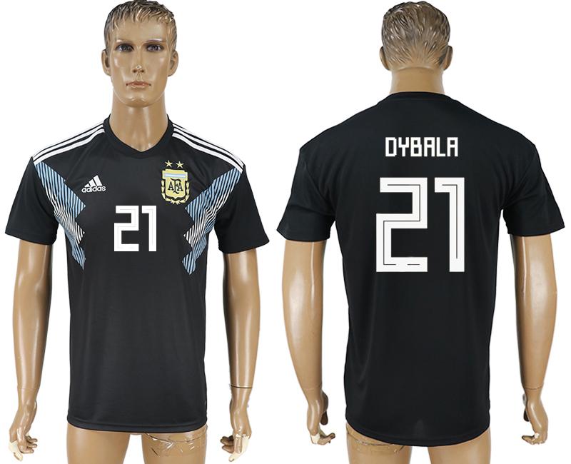 Men 2018 World Cup Argentina away aaa version 21 black soccer jersey