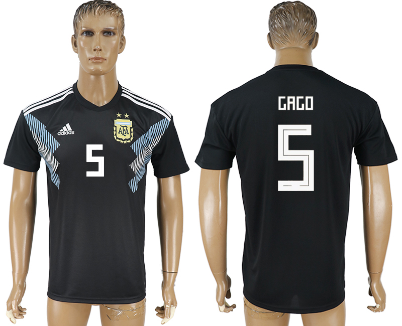 Men 2018 World Cup Argentina away aaa version 5 black soccer jersey