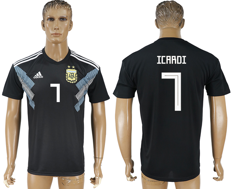 Men 2018 World Cup Argentina away aaa version 7 black soccer jersey