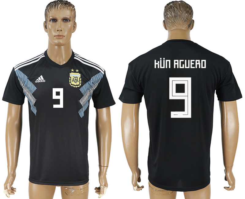 Men 2018 World Cup Argentina away aaa version 9 black soccer jersey