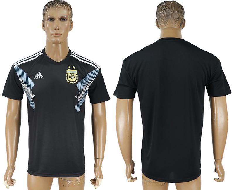 Men 2018 World Cup Argentina away aaa version black soccer jersey