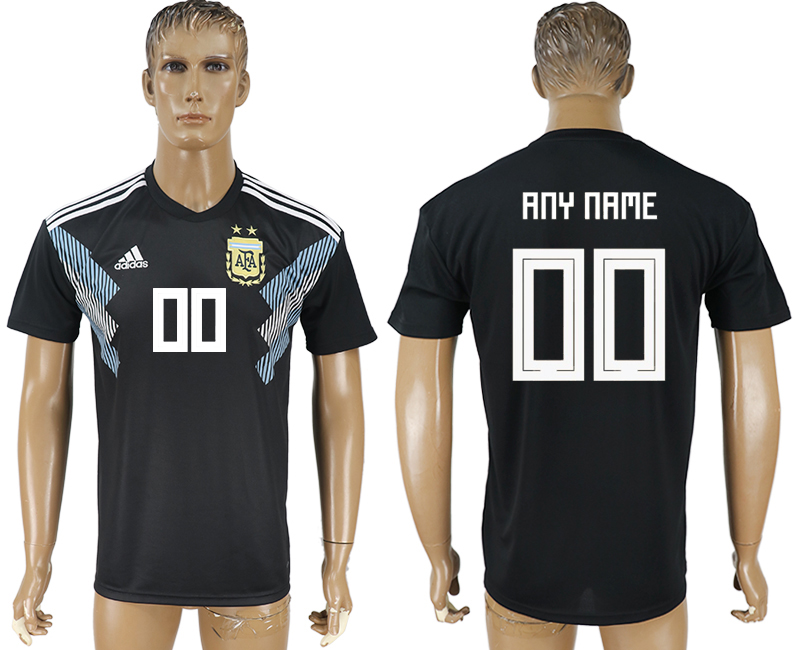 Men 2018 World Cup Argentina away aaa version customized black soccer jersey