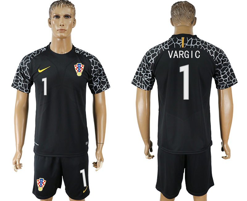 Men 2018 World Cup Croatia black goalkeeper 1 soccer jersey