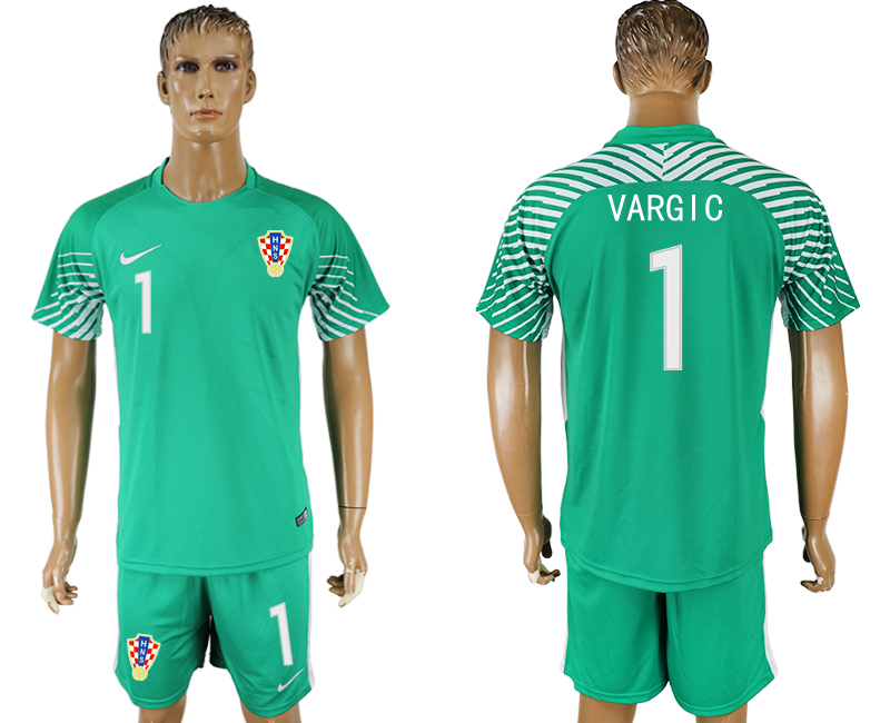 Men 2018 World Cup Croatia green goalkeeper 1 soccer jersey