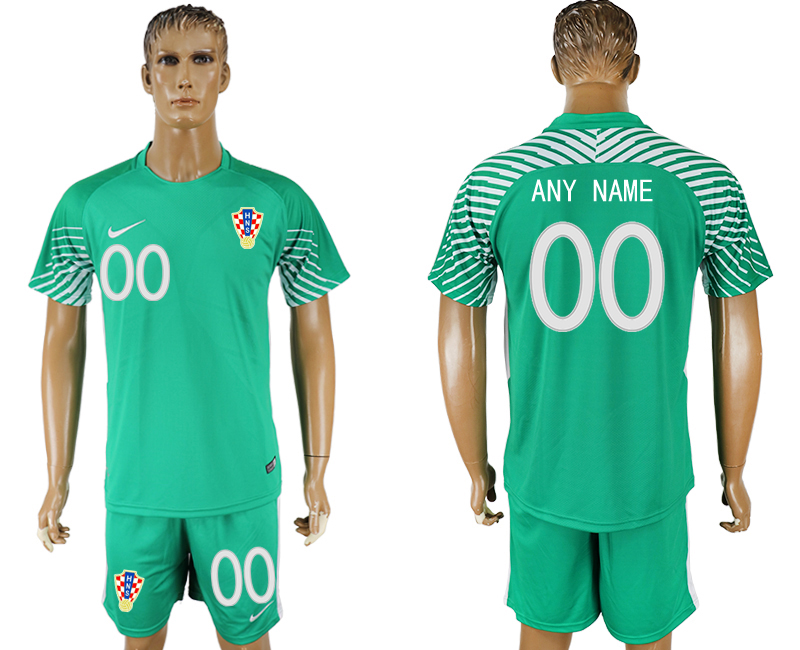 Men 2018 World Cup Croatia green goalkeeper customized soccer jersey