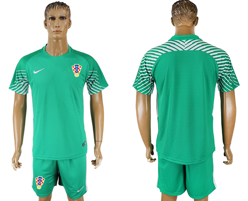 Men 2018 World Cup Croatia green goalkeeper soccer jersey
