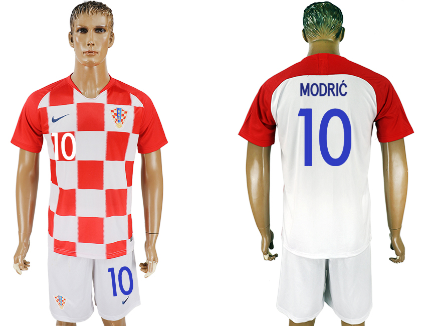 Men 2018 World Cup Croatia home 10 white soccer jersey