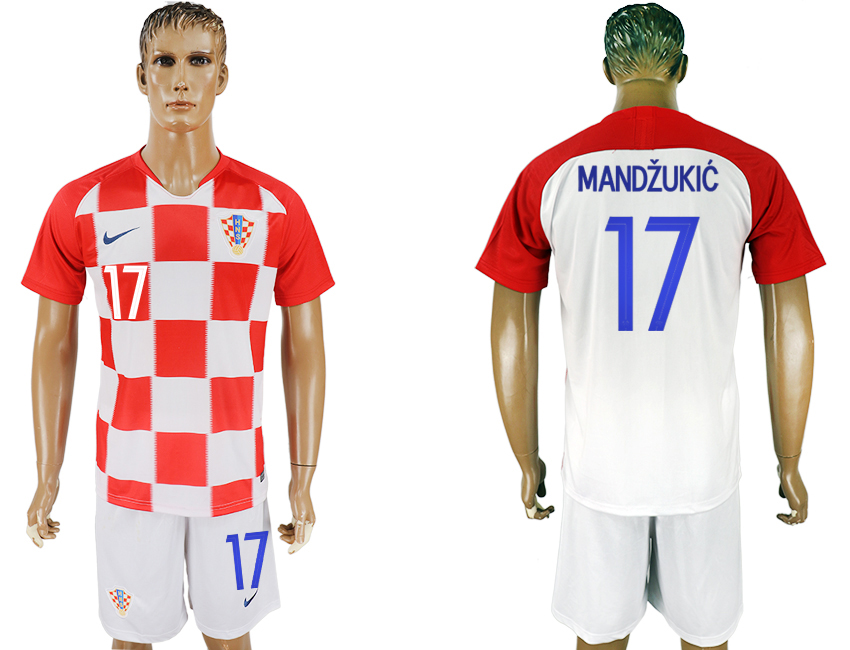 Men 2018 World Cup Croatia home 17 white soccer jersey