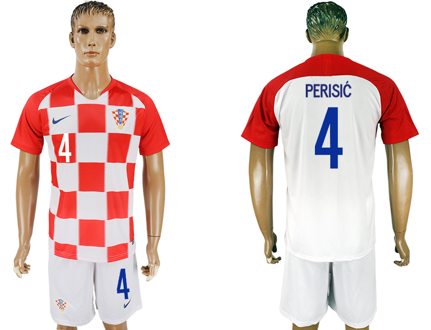 Men 2018 World Cup Croatia home 4 white soccer jersey