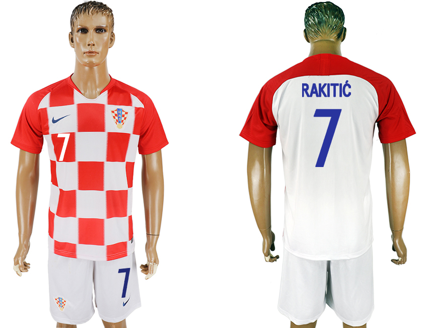 Men 2018 World Cup Croatia home 7 white soccer jersey