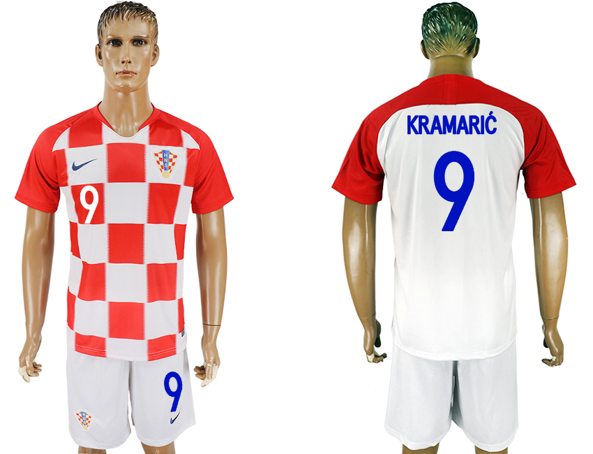 Men 2018 World Cup Croatia home 9 white soccer jersey