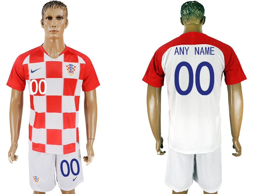 Men 2018 World Cup Croatia home customized white soccer jersey