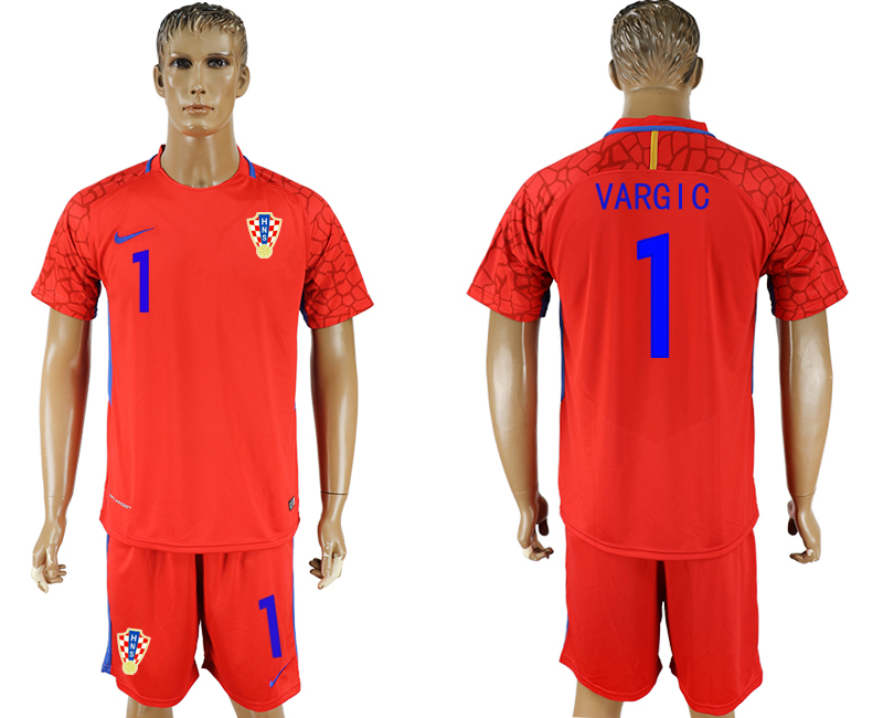 Men 2018 World Cup Croatia red goalkeeper 1 soccer jersey