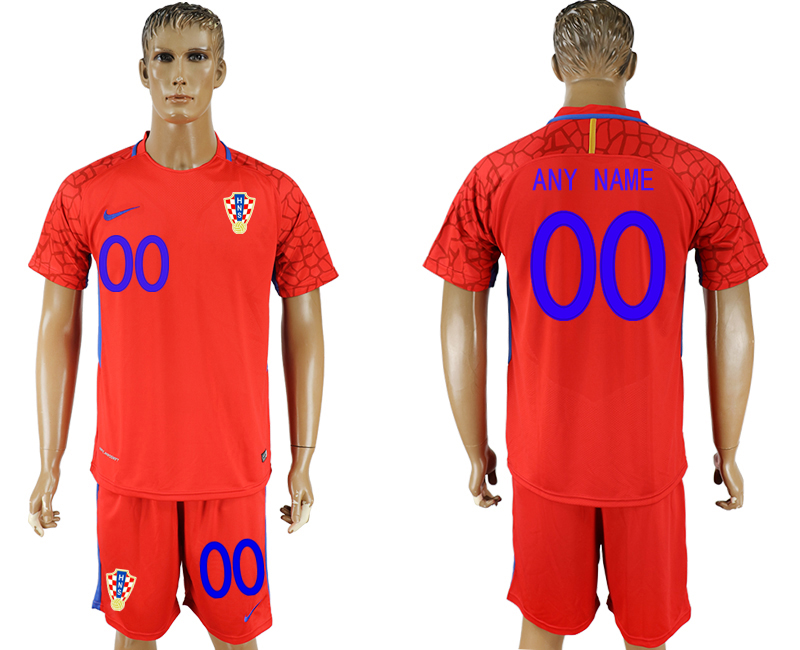 Men 2018 World Cup Croatia red goalkeeper customized soccer jersey