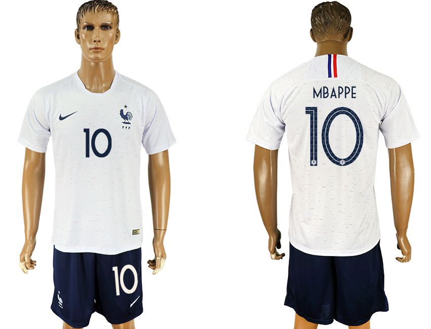 Men 2018 World Cup France away 10 white soccer jersey1