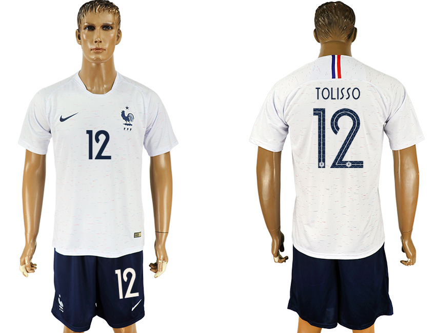 Men 2018 World Cup France away 12 white soccer jersey