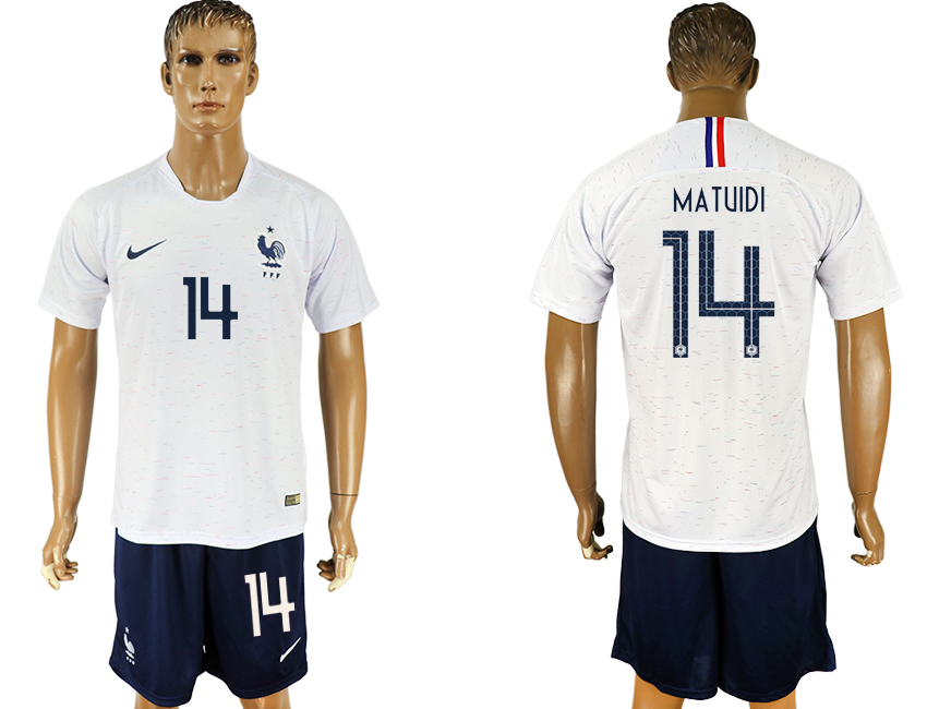 Men 2018 World Cup France away 14 white soccer jersey