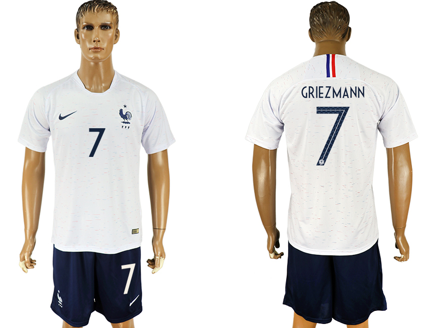 Men 2018 World Cup France away 7 white soccer jersey1