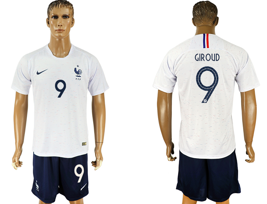Men 2018 World Cup France away 9 white soccer jersey