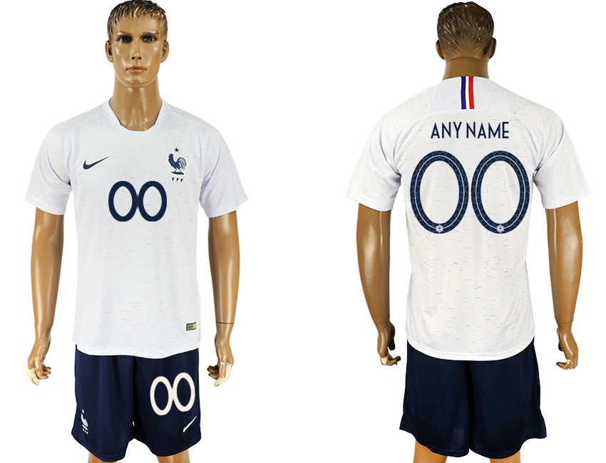 Men 2018 World Cup France away customized white soccer jersey
