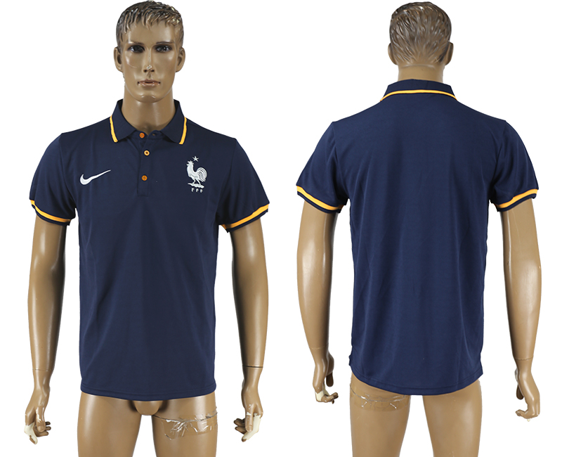 Men 2018 World Cup France mazarine polo shirt soccer jersey