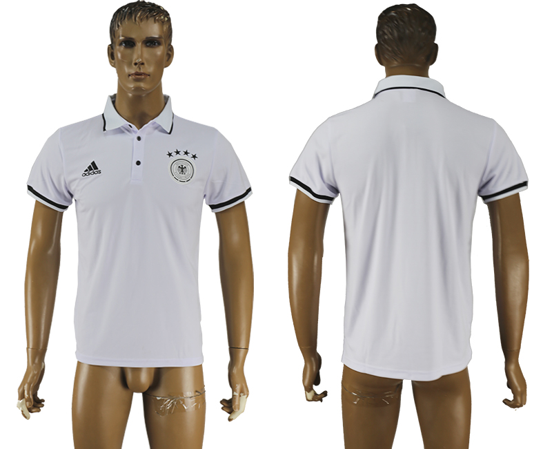 Men 2018 World Cup Germany white polo shirt soccer jersey
