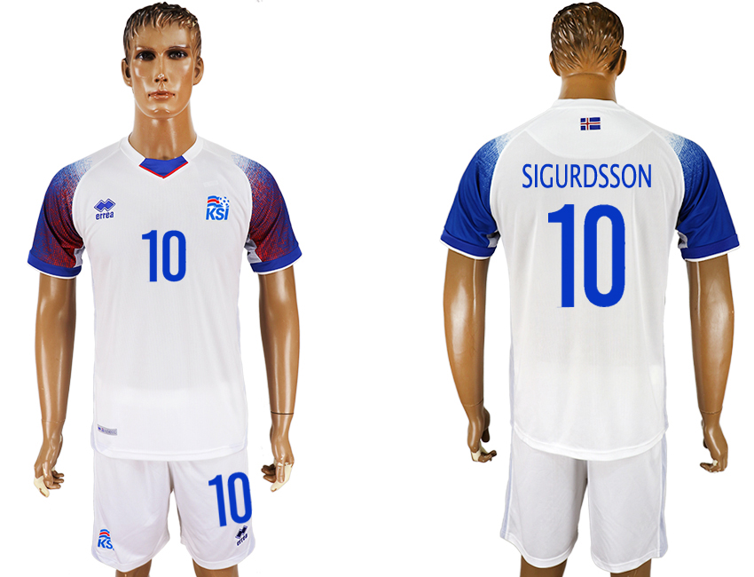 Men 2018 World Cup Iceland away 10 white soccer jersey