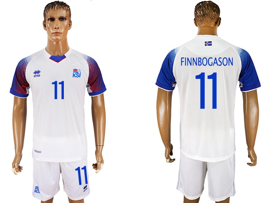 Men 2018 World Cup Iceland away 11 white soccer jersey