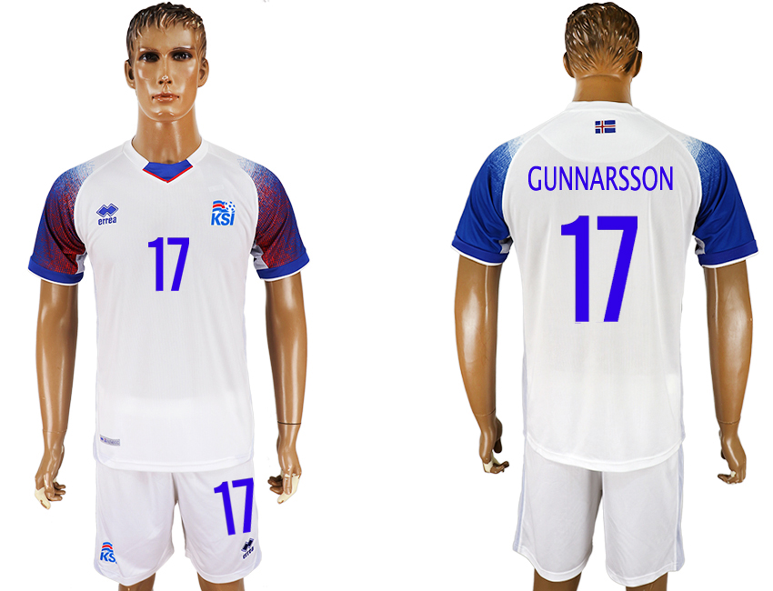 Men 2018 World Cup Iceland away 17 white soccer jersey