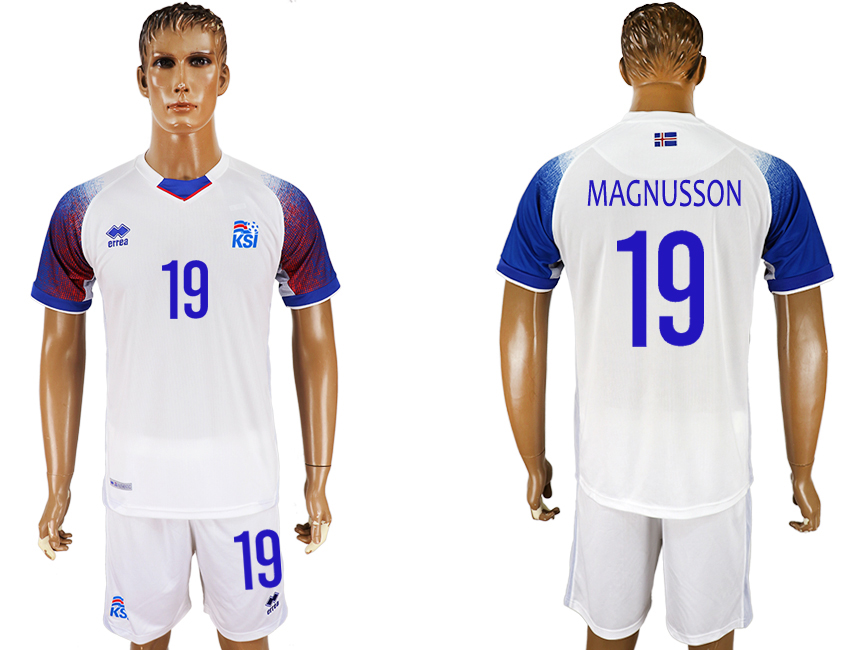 Men 2018 World Cup Iceland away 19 white soccer jersey