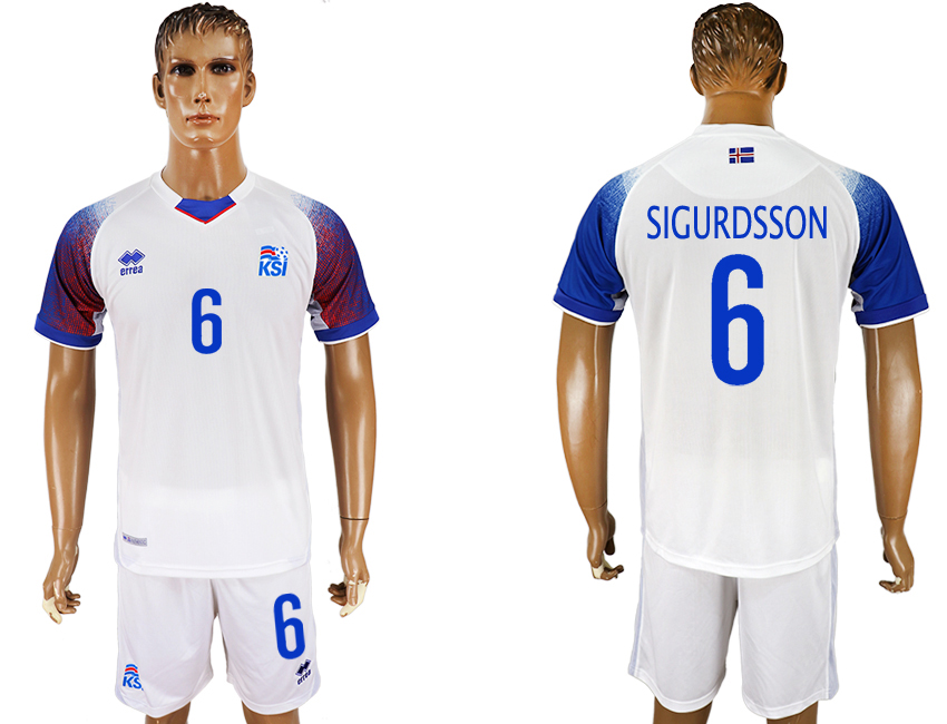 Men 2018 World Cup Iceland away 6 white soccer jersey