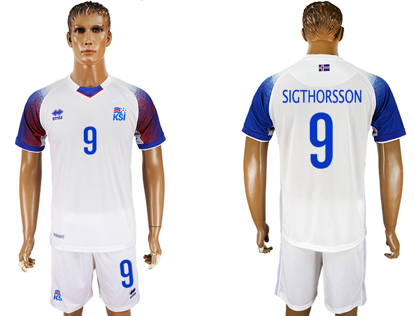 Men 2018 World Cup Iceland away 9 white soccer jersey