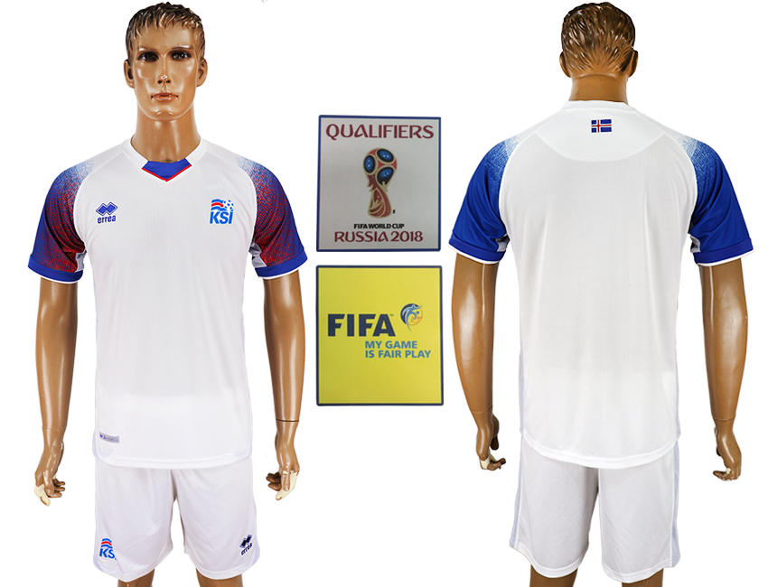 Men 2018 World Cup Iceland away white soccer jersey