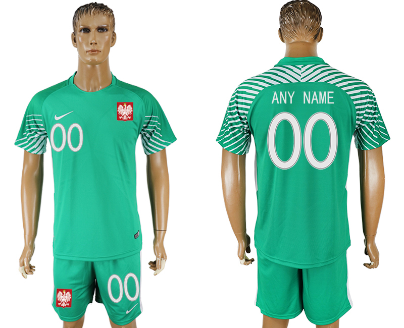 Men 2018 World Cup Poland green goalkeeper customized soccer jersey