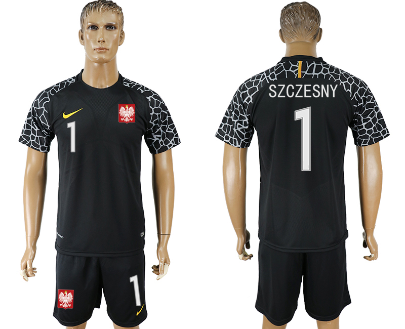 Men 2018 World Cup Poland black goalkeeper 1 soccer jersey