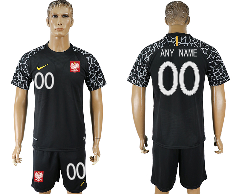 Men 2018 World Cup Poland black goalkeeper customized soccer jersey
