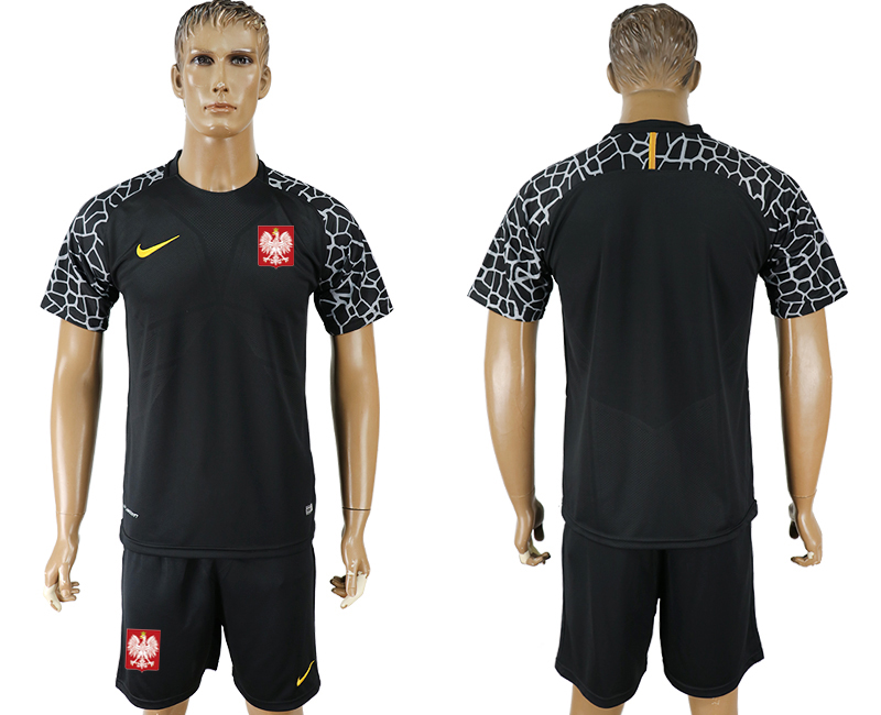 Men 2018 World Cup Poland black goalkeeper soccer jersey