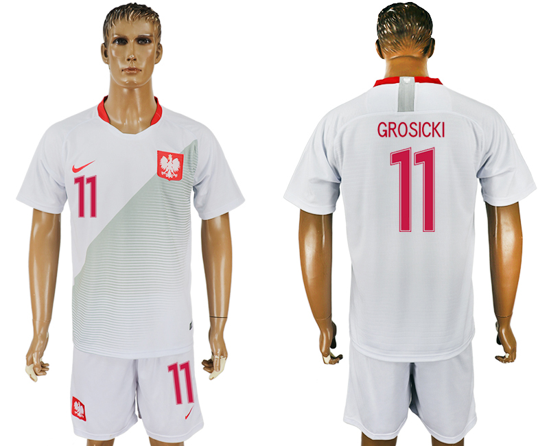 Men 2018 World Cup Poland home 11 white soccer jersey