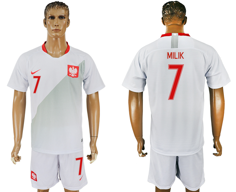 Men 2018 World Cup Poland home 7 white soccer jersey