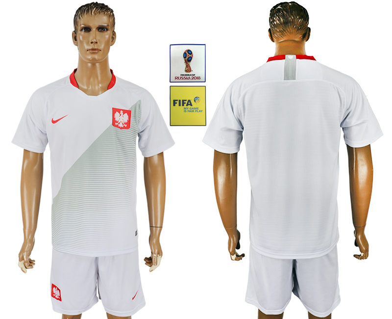 Men 2018 World Cup Poland home white soccer jersey