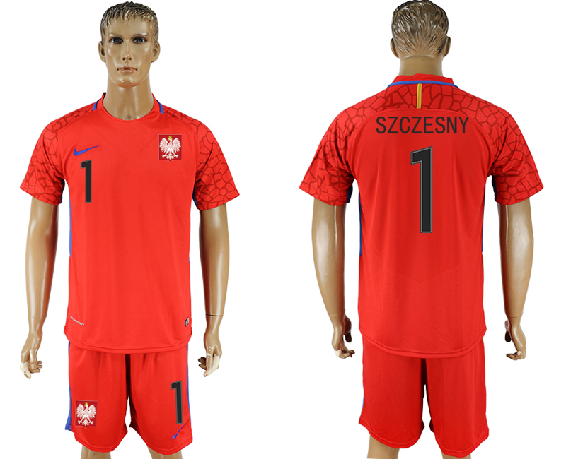 Men 2018 World Cup Poland red goalkeeper 1 soccer jersey