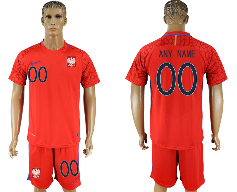 Men 2018 World Cup Poland red goalkeeper customized soccer jersey