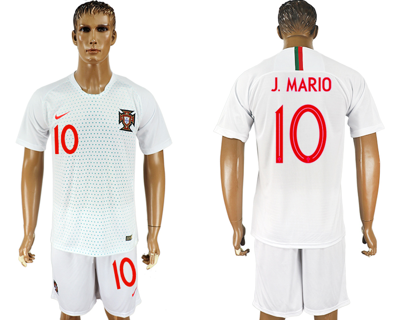 Men 2018 World Cup Portugal away 10 white soccer jersey