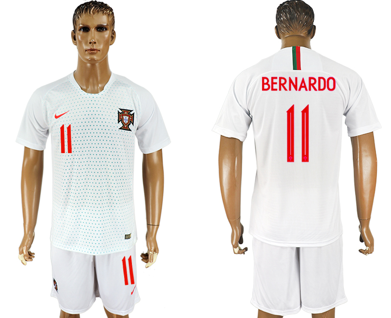 Men 2018 World Cup Portugal away 11 white soccer jersey