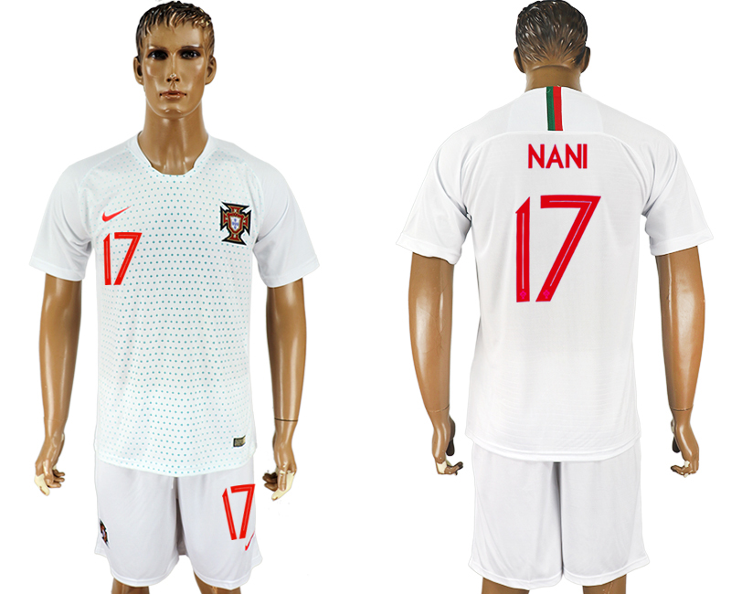 Men 2018 World Cup Portugal away 17 white soccer jersey